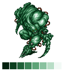 A pixel image of a green monster, with no shift in hue as the color changes brightness.